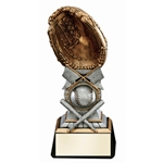 Crossed Bats Baseball Glove Trophies