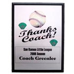 Baseball Thanks Coach Plaques