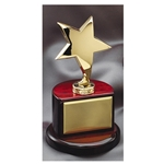 Gold Metal Star Trophies on Rosewood Base