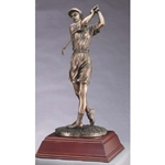 Female Golf Metallic Bronze Resin Trophy