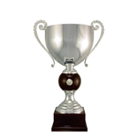 Silver Italian Trophy Cup with Wood Accent