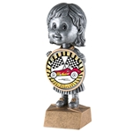 Female Pinewood Derby Bobblehead Trophy