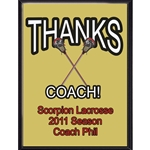 Thanks Coach Lacrosse Plaques