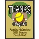 Thanks Coach Softball Plaques