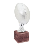 Large Full Size Silver Football Trophies On Wood Base