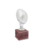 Small Silver Football Trophies On Wood Base