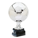 Large Full Size Silver Soccer Ball Trophies On Black Base