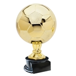 Large Full Size Gold Soccer Ball Trophies On Black Base