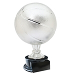 Large Full Size Silver Basketball Trophy On Black Base