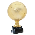 Large Full Size Gold Basketball Trophy On Black Base
