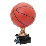 Large Full Size Color Basketball Trophy On Black Base