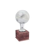 Small Silver Basketball Trophies On Wood Base