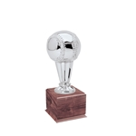 Small Silver Baseball Trophies On Wood Base