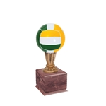 Small Color Volleyball Trophies On Wood Base