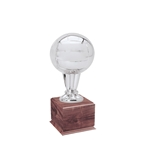 Small Silver Volleyball Trophies On Wood Base