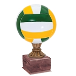 Large Full Size Color Volleyball Trophy On Wood Base