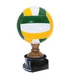 Large Full Size Color Volleyball Trophy On Black Base