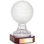 Crystal Basketball Trophy on Rosewood Base