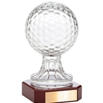 Crystal Golf Ball Trophies on Rosewood Base