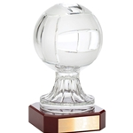 Crystal Volleyball Trophies on Rosewood Base