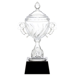 Lead Crystal Trophy Cup on Black Crystal Base
