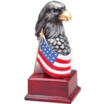 Silver Eagle Head with Flag Trophies