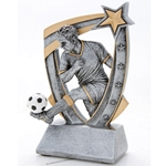3D Star Male Soccer Resin Trophies
