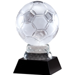 Soccer Premier Crystal Trophies on Black Base