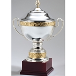 Silver Plated Italian Trophy Cups with Gold Bands on Rosewood Base