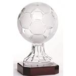 Crystal Soccer Ball Trophies on Rosewood Base