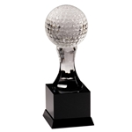 Crystal Golf Ball on Black Marble Base Trophies