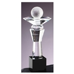 Golf Crystal Trophies on Black Base