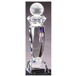 Golf Prism Optical Crystal Pedestal Trophy