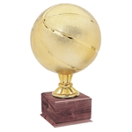 Large Full Size Gold Basketball Trophy On Wood Base