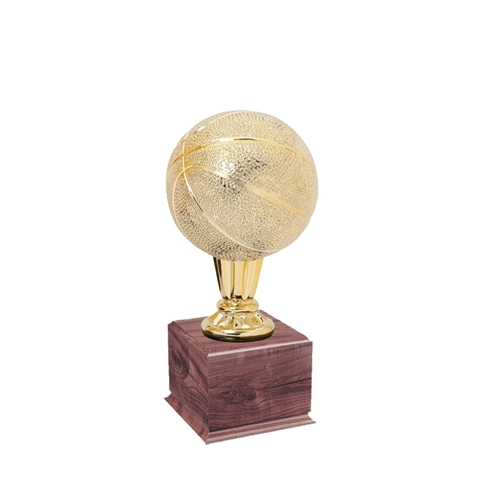 Small Gold Basketball Trophies On Wood Base