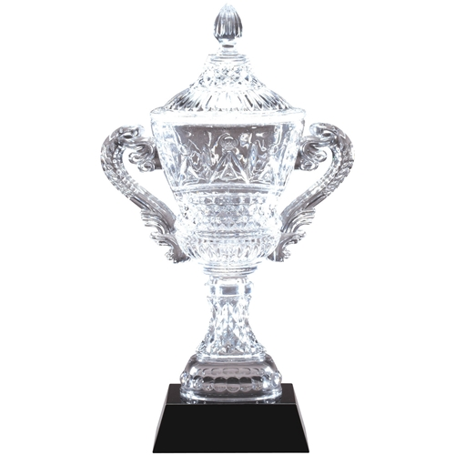 Intricate Crystal Trophy Cups On Black Base