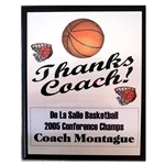 Basketball Thanks Coach Plaques