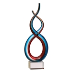 Blue & Red Twisted Glass Art Trophies