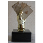 Poker Hand Trophy on Marble Base