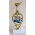 "8.5"" Pinewood Derby Blue Racing Flag Trophies"