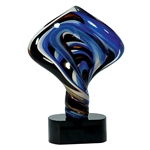Blue Diamond Twist Glass Art Trophies