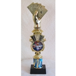 "13"" Poker Blue Flame Triumph Column Trophies"