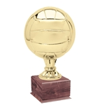 Large Full Size Gold Volleyball Trophy On Wood Base