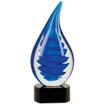 Blue Twist Rain Drop Art Glass Awards