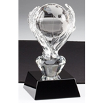 Crystal Globe in Hands Trophy