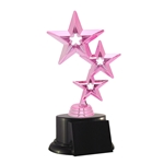 "Pink ""Breast Cancer"" Tri-Star Trophies"