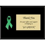 Green Awareness Ribbon Plaques