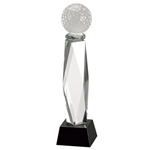 Golf Crystal Pedestal with Black Crystal Base Trophies