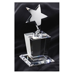 Silver Metal Star Trophies on Crystal Base