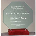 Jade Glass Octagon on Rosewood Base Awards